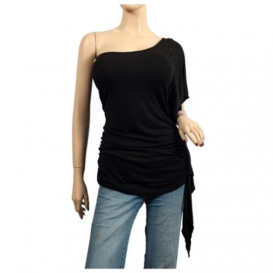 Sexy Black One Shoulder Plus Size Tunic Top 1X