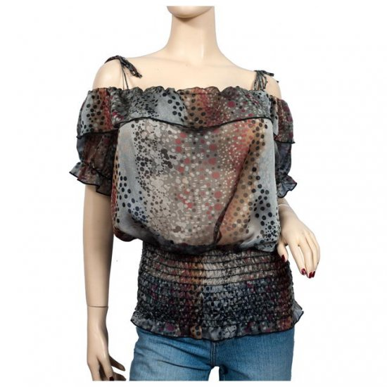 Gray Red Designer Print Off Shoulder Plus size Top 2X