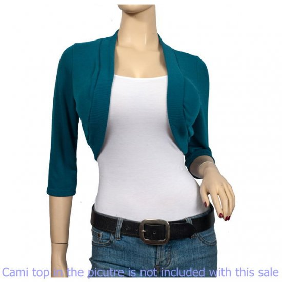 Teal 3/4 Sleeve Open Front Plus size Shrug Bolero 2X