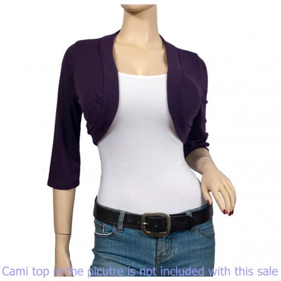 Purple 3/4 Sleeve Open Front Plus size Shrug Bolero 1X