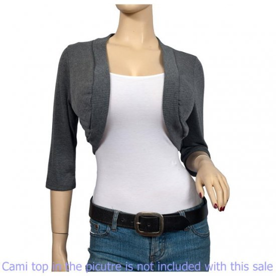 Gray 3/4 Sleeve Open Front Plus size Shrug Bolero 1X