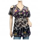 Plus size Off shoulder Abstract print top 1X