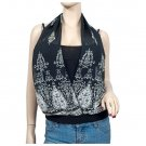 Black Layer look Designer print Plus size top 2X