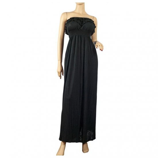 Black Empire Waist Strapless Plus Size Maxi Dress 2X