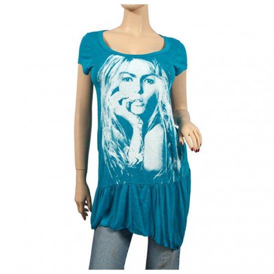 Green Designer Print Asymmetric Plus Size Tunic Top 1X