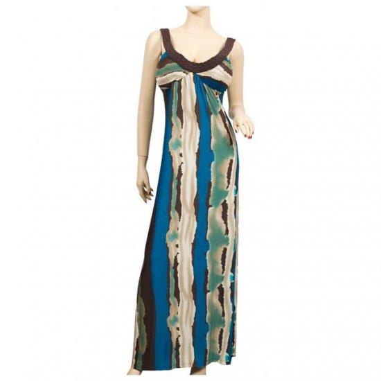 NEW BROWN BLUE PRINTED SLEEVELESS PLUS SIZE DRESS 1X