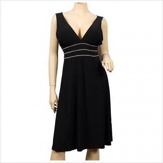 NEW SEXY BLACK RHINESTONE LOW CUT DRESS PLUS SIZE 2X