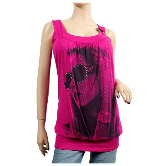 Hot Pink O-ring Accent Designer Print Plus Size Top 2X
