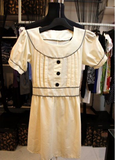 3 Button Pleated Bust Dress