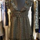 Black Floral Flutter Sleeve Chiffon Dress