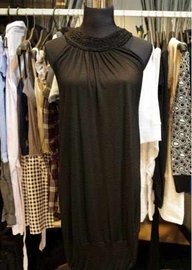 Black Knitted Cotton Collar Evening Dress