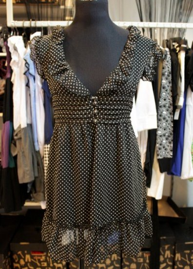 Black Spotted Flutter Sleeve Chiffon Dress