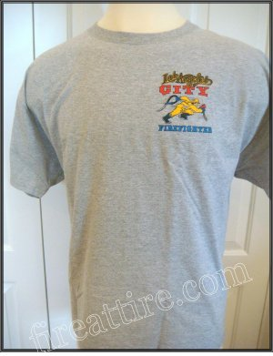 LAFD Running FireFighter Gray T-Shirt Size Large