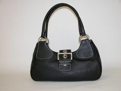PRADA BLACK LEATHER HANDBAG (Retail price: $600.00)