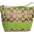 COACH SIGNATURE KHAKI/GREEN STRIPE BAG PURSE 13581 (Retail price: $379.00)