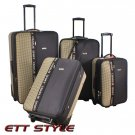 CS6690 BROWN CHARLIE SPORT 4 PC EXPANDABLE LUGGAGE SET FREE SHIPPING