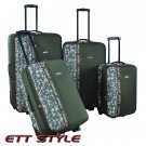 CS6690 GREEN CHARLIE SPORT 4 PC EXPANDABLE LUGGAGE SET FREE SHIPPING