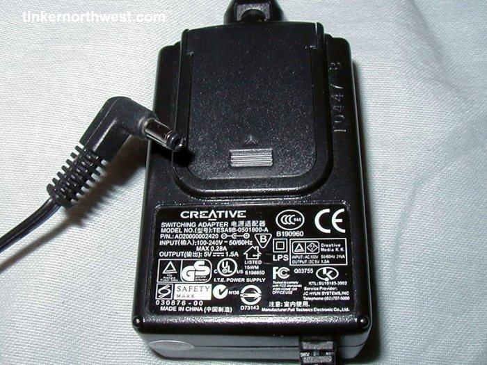 Creative TESA9B-0501800-A AC Power Adapter 5VDC 1.5A