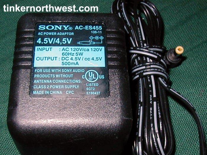 Sony AC-ES455 4.5VDC, 500mA AC Adapter Power Supply
