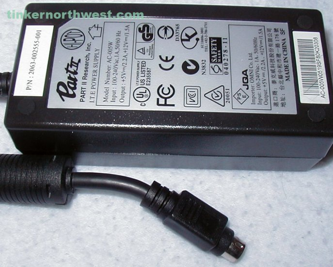 Part II Research, Inc. AC-005W AC Power Adapter 2063-002555-001 4 Pin Supply
