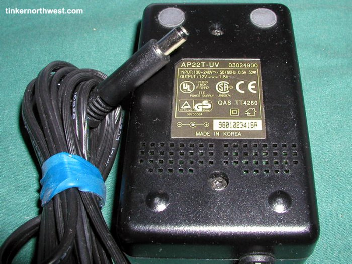 AP22T-UV AC Adapter 12V DC 1.8A Power Supply
