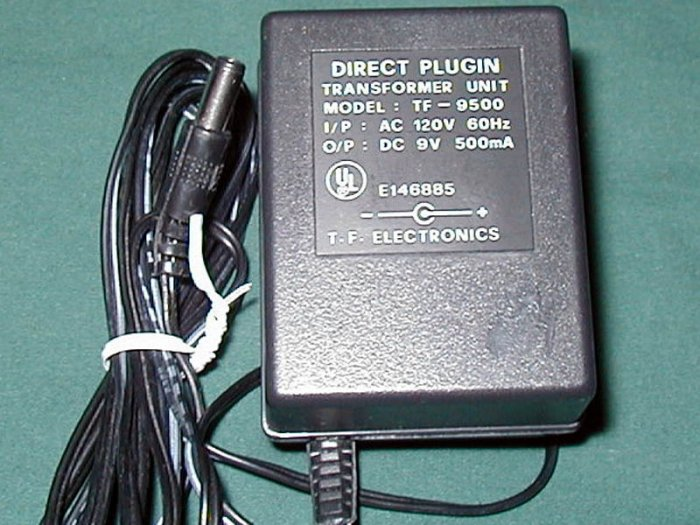 AC Power Adapter TF-9500 9VDC 500mA