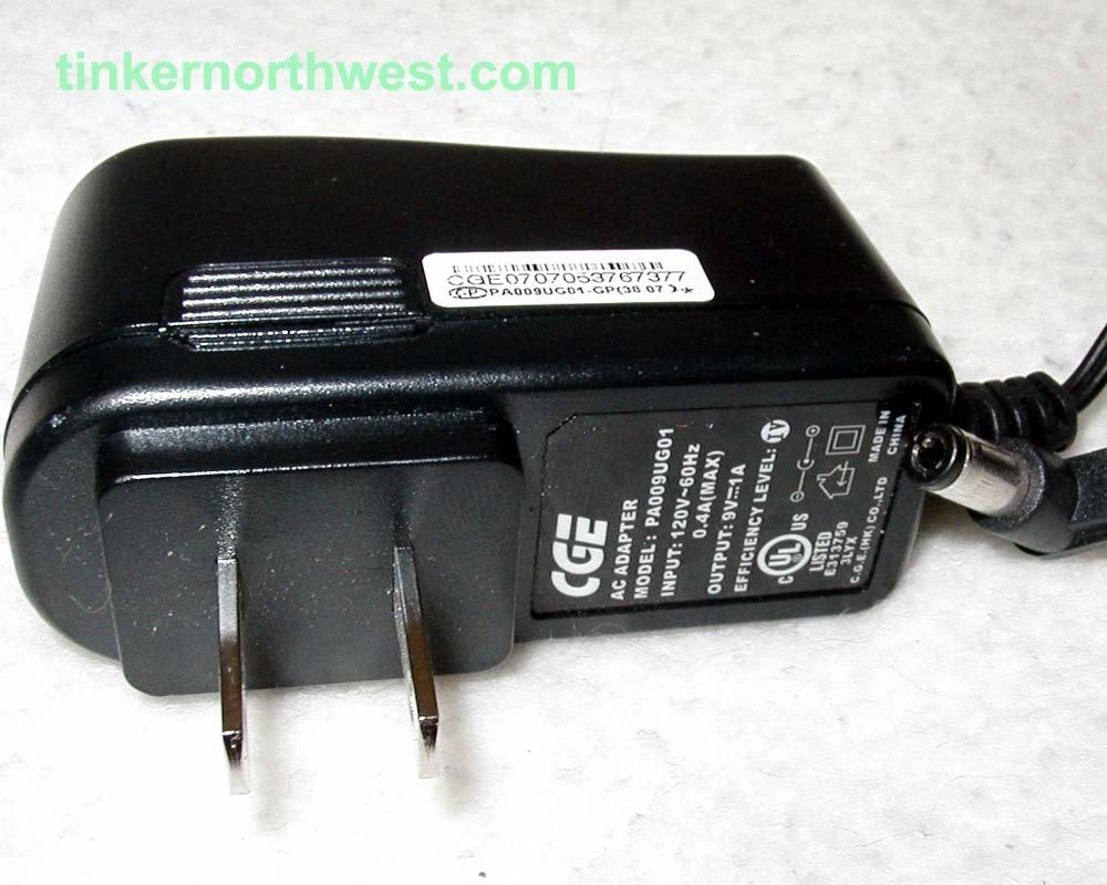PA009UG01 CGE  AC POWER ADAPTER 9VDC 1A SUPPLY