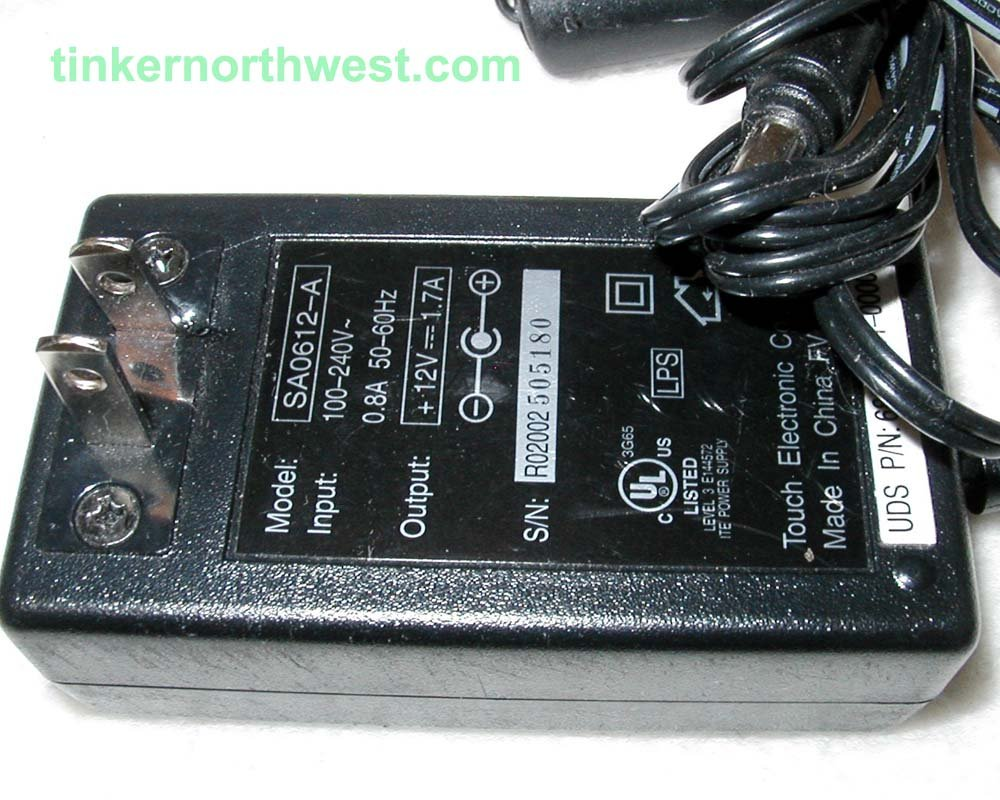 SA-0612A AC Power Adapter 12VDC 1.7A Touch Electronic