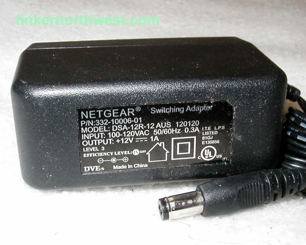 332-10006-01 Netgear AC Power Adapter 12VDC 1A Supply
