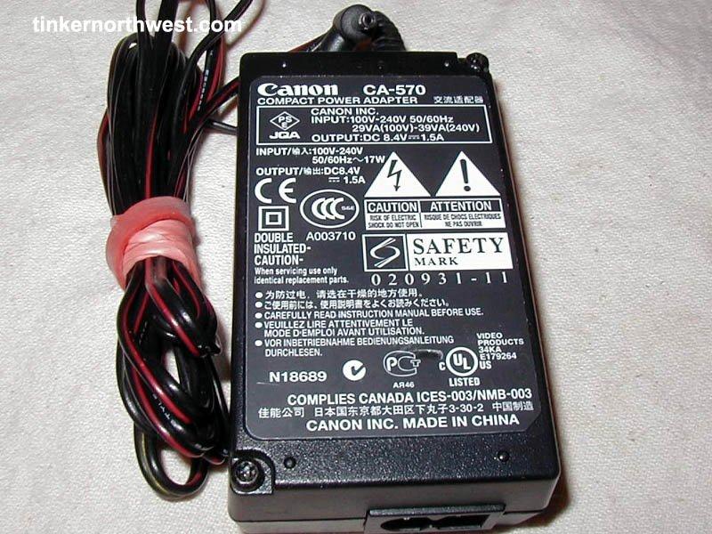 AC Adapter for Canon CA-570 ELURA 60 65 70 80 85 90