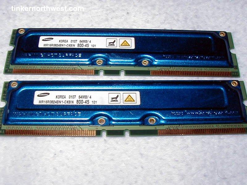Samsung 128MB 2x 64MB PC800 RDRAM RAMBUS RIMMs