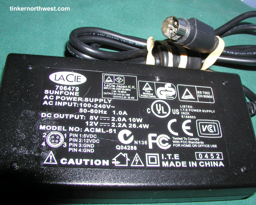 LACIE D2 BENQ ACML-51 AC Power Adapter 5v 12v 4 Pin