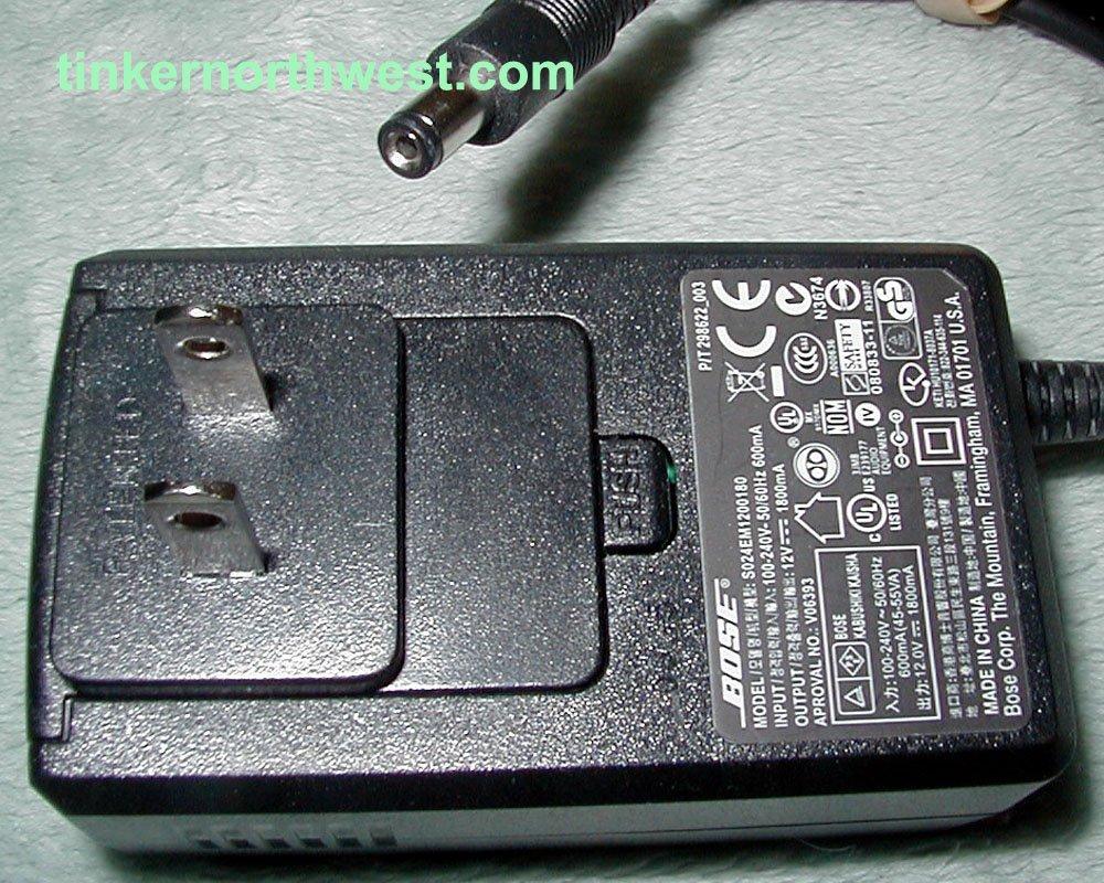 S024EM1200180 Bose AC Power Adapter 12VDC 1800mA Supply