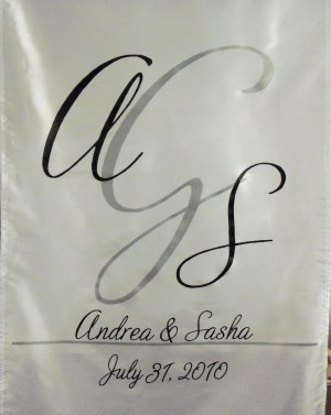 Wedding Monogram Table Runner Banner Decor Fabric Table Centerpiece