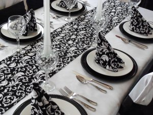 Wedding Black & White Table Runner Floral Table Centerpiece Linens Decor