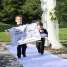 Wedding Here Comes the Bride Banner Sign Fabric Aisle Ceremony Accessory Wedding Decor