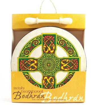 8 Inch Red Green Yellow Celtic Cross Design Bodhran