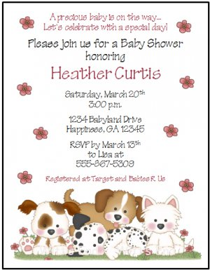 Playful puppy dog custom baby shower invitations filmwisefo