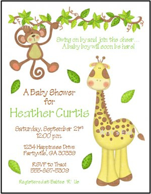 Jungle Giraffe And Monkey Custom Baby Shower Invitations