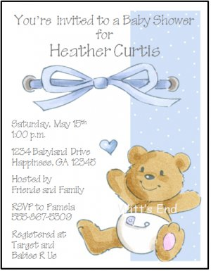 Teddy Bear Custom Baby Shower Invitations Pink and Blue