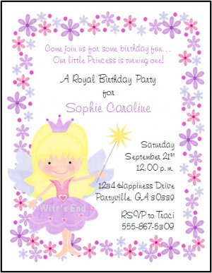 Fairy princess custom birthday party invitations filmwisefo