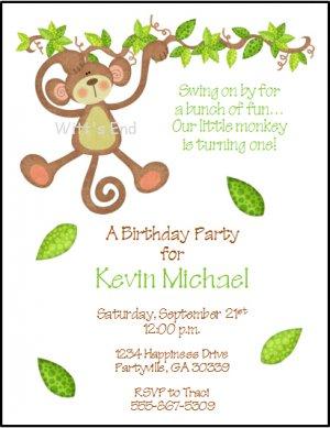 Monkey On Vine Custom Birthday Party Invitations