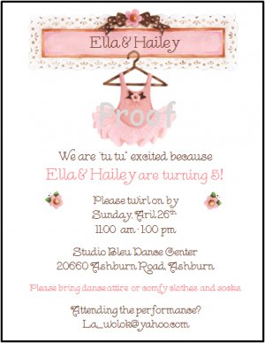 Pink Tutu Recital Custom Birthday Party Invitations