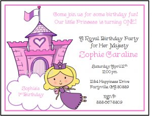 Royal Princess Custom Birthday Party Invitations
