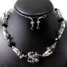 Necklace Set Bead Silver Black
