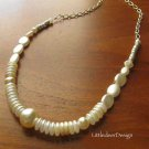 Handmade buttercream glass pearl necklace