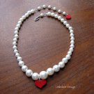 Handmade red poly clay heart with pearls necklace