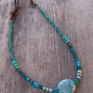 Handmade turquoise jasper focal and teal glass bead necklace