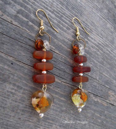Handmade baltic amber, lampworked glass heart, and glass rondelles earrings