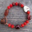 Handmade brown moukaite and red Czech fireglazed bead bracelet